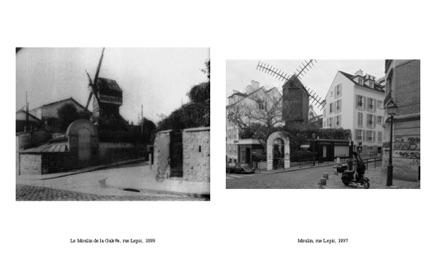 Le Moulin de la Galette, rue Lepic, 1899 	/ Moulin, rue Lepic, 1997